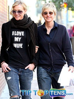 ellen degeneres rossi Top 10 Hottest Celebrity Couples