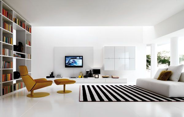 white and black livingroom 10 Cool Living Room Design Ideas