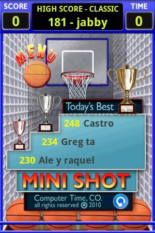 mini shot basketball 10 Most Addictive Android Games – 2011