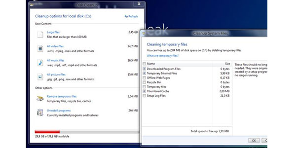 Tweaked Disk Cleanup 10 New Features Expected In Windows 8