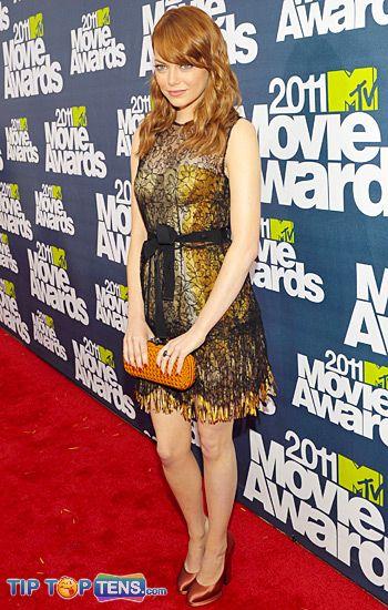 movie awards emma stone Top 10 Favorite Dresses At MTV Movie Awards 2011
