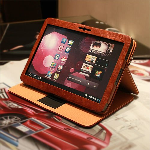 Reddish brown ROTARY folio PU leather case 10 Best Samsung Galaxy Tab 10.1 Covers and Cases