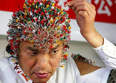 2. Most Needles Inserted on the Head 10 More Bizarre World Records