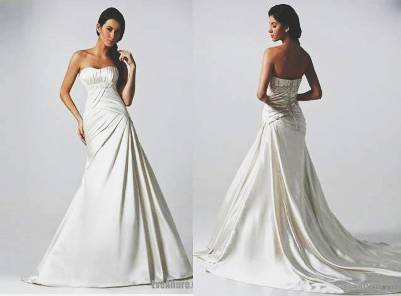 1. A line Strapless Chapel Train Satin Wedding Dress 10 Best Winter Wedding Dresses 2011   2012