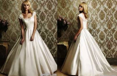 10. A line Scoop Chapel Train Satin Wedding Dress 10 Best Winter Wedding Dresses 2011   2012