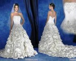 2. Ball Gown Strapless Cathedral Royal Train Taffeta Ruffle Wedding Dress