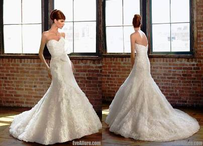 3. A line Strapless Court Train Organza Wedding Dress 10 Best Winter Wedding Dresses 2011   2012