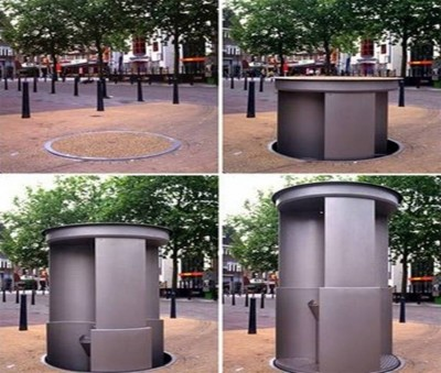 8. The Disappearing Urinals e1332152956879 10 Most Bizarre Toilets The World Have Ever Seen