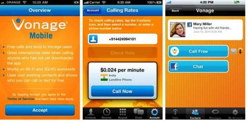 6. Vonage Mobile Top 10 iPhone Apps to Make Free Calls