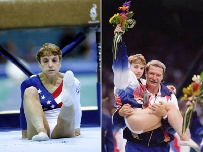 3. Kerri Strug Shrugged of the Pain e1343713666803 Top 10 Olympic Moments of All Time