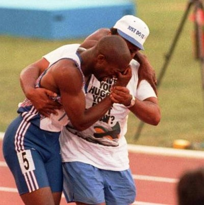 5. Runner's Father Helped His Son e1343713688232 Top 10 Olympic Moments of All Time