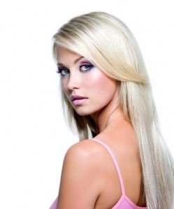 Beautiful face with satured colors of make-up and straight long hair