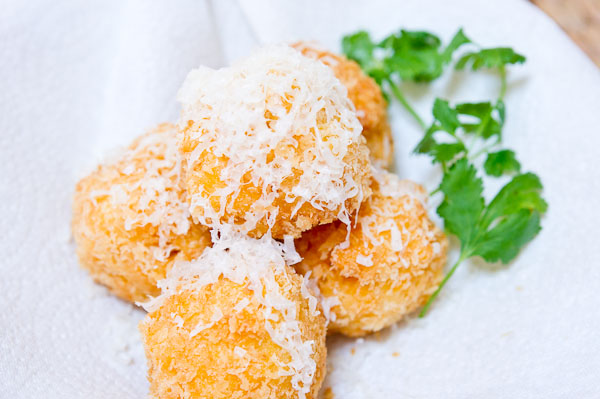 Deep fried macaroni and cheese balls.